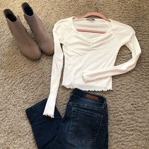 Charlotte Russe White Long Sleeve Ribbed Top XS